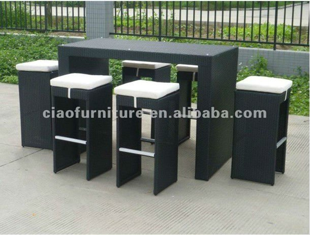 Outdoor mobili in rattan di vimini 7 pcs sgabelli da bar bar set