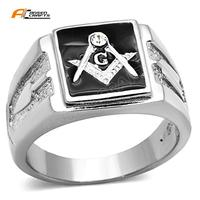 Stainless Steel Silver White and Black Red color Enamel Masonic Silicone Wedding Flip Ring Retro Vintage G Freemasonry Rings