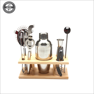 Stainless Cocktail Shaker Mixer Drink Martini Tools Bar Set with Wood Stand