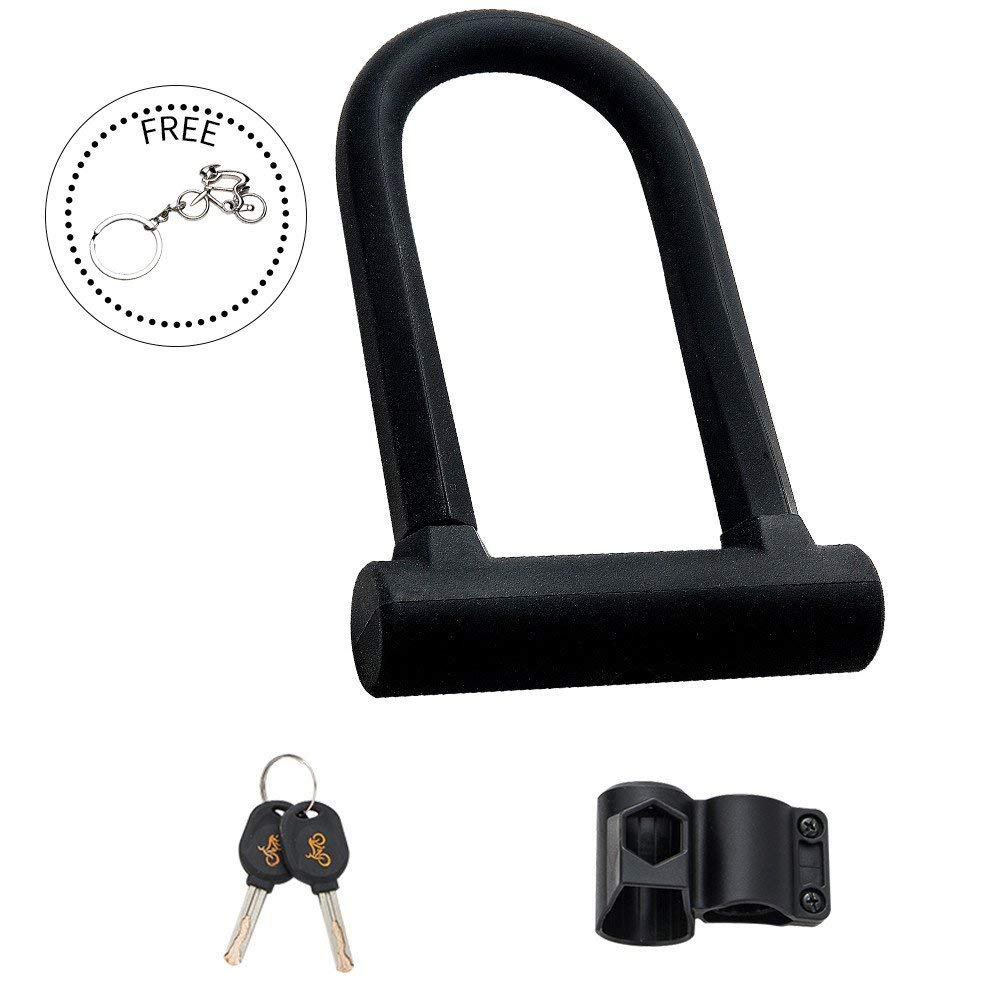 Yopoon U Lock Bike Lock, High Security Hardened Steel Lock for Bicycles, Gate, Warehouse - Durable, Compact, Anti-drill, Pick-resistant Lock, Comes with 2 Keys