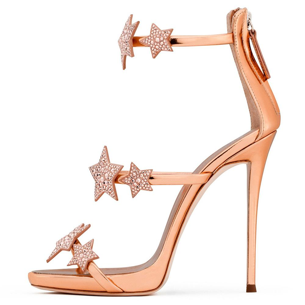 HMS153 Ladies Rhinestone Star Super High-heeled Rose Gold Sandals Dinner Shoes Chengdu Fashion Women's Shoes