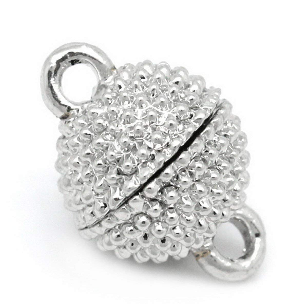 """Housweety 10 Sets Silver Tone Magnetic Clasps 13x9mm(4/8""""x3/8"""")"""