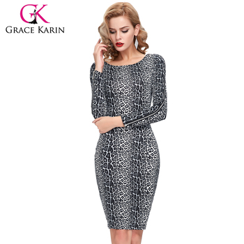 d386b58180 2016 New Occident Women s Sexy Leopard Pattern Zipper Long Sleeve Bodycon  Pencil Dress CL009182-1