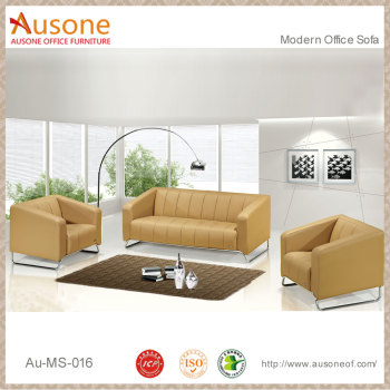 China Wholesale Cheap Price High Quality Steel Frame Yellow Leather Sofa Set