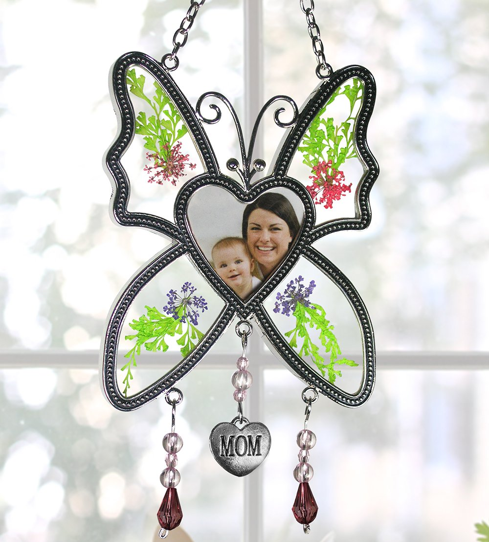 BANBERRY DESIGNS Mom Butterfly Mother Suncatcher - Pressed Flowers in Between Glass - Heart Shape Picture Opening
