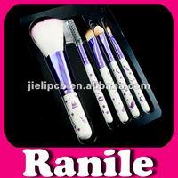 5pcs white flower professional travel cosmetic brush set