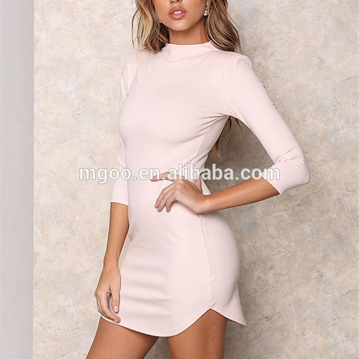 Wholesale Women Clothing Pink Jersey Sexy Dress Body-con Fashion Padded Shoulder Above Knee Dress