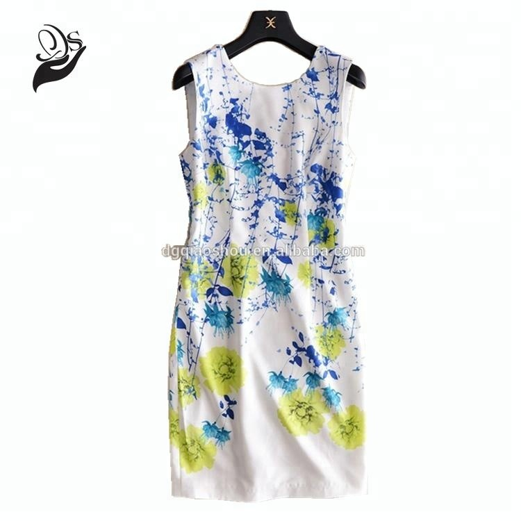New Style Printed Ladies Sleeveless Dresses Graffiti Print Jacquard Dresses Ladies Cute A Line Short Dress