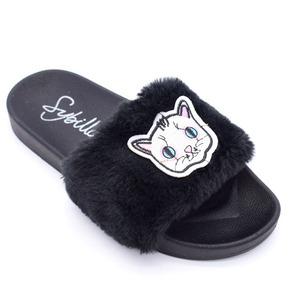 Custom Logo Fabric Upper with Customized Embroidery PVC Rabbit hair Slide Sandal
