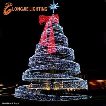 Outdoor Giant Metal Spiral Lighted Led Christmas Tree With Star On Top