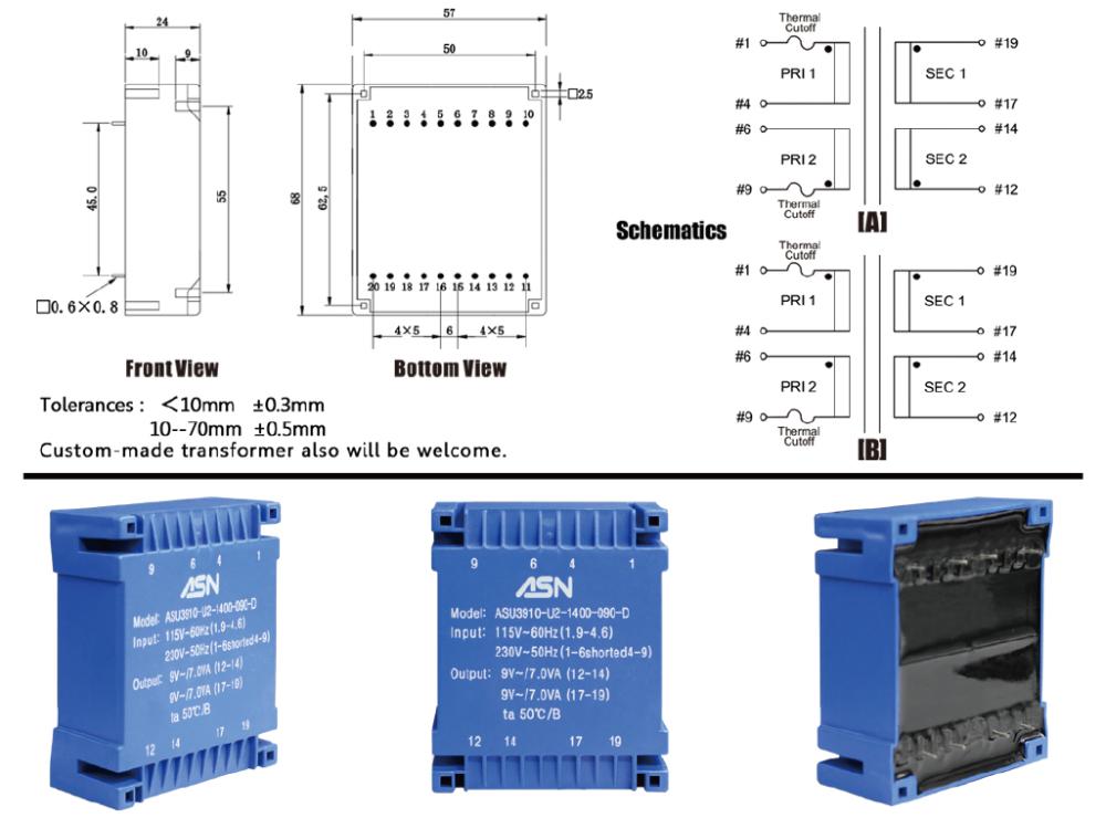 Ui39 Series Flat Or Planar Encapsulated Power Pcb Mount