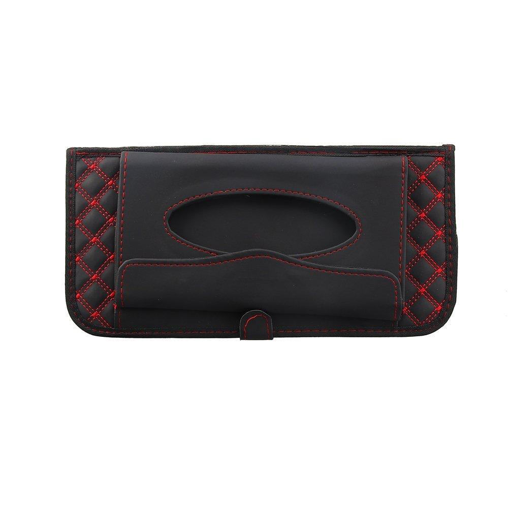 CD Visor Organizer,Car Sun Visor Tissue Bag Multi Function Double-Deck Auto Extra Car Vehicle Pocket,CD Holder Visor with Tissue Holder,16 Cd//DVD Slots Stored Safely CD Storage Cases for Car