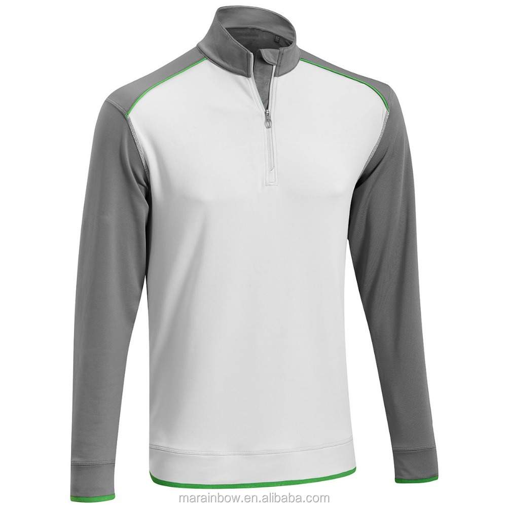 premium mens 1/4 zip pullover jackets long sleeve contrasting color performance golf shirt pullover oem