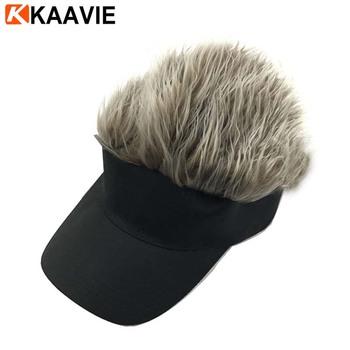 Custom Camo wig hair visor cap camouflage sun visor hat with fake hair 948be8bc3ba