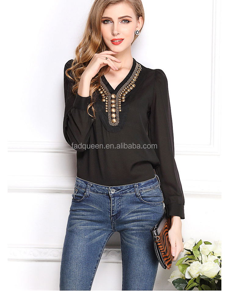 2018 Summer New Y-shaped V Collar Pure Color top Fashion Retro Copper Long Sleeved chiffon Shirt A2682