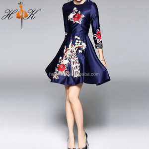 HTK New Arrival Lady Long Sleeve A Line Short Umbrella Embroidered Dress