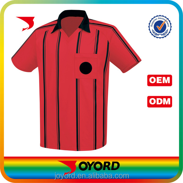 Red color pro custom soccer referee jersey