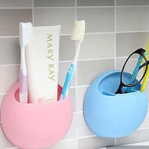 Wall Mounted Toothbrush Toothpaste Holder Kitchen Bathroom Organizer Plastic Bathroom Accessory Set
