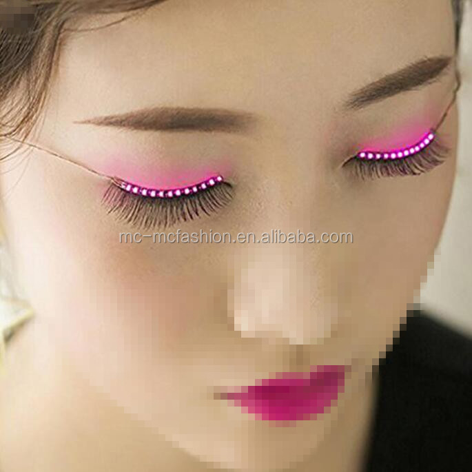 amazing sound intereactive button switch controlled 12 flashing modes fake led eye lashes with strip for club halloween party