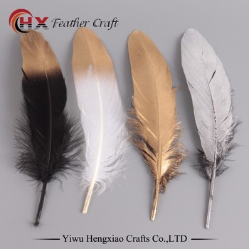Factory Wholesale New Design DIY Gold Painted Goose Feather for Carnival Costumes Design