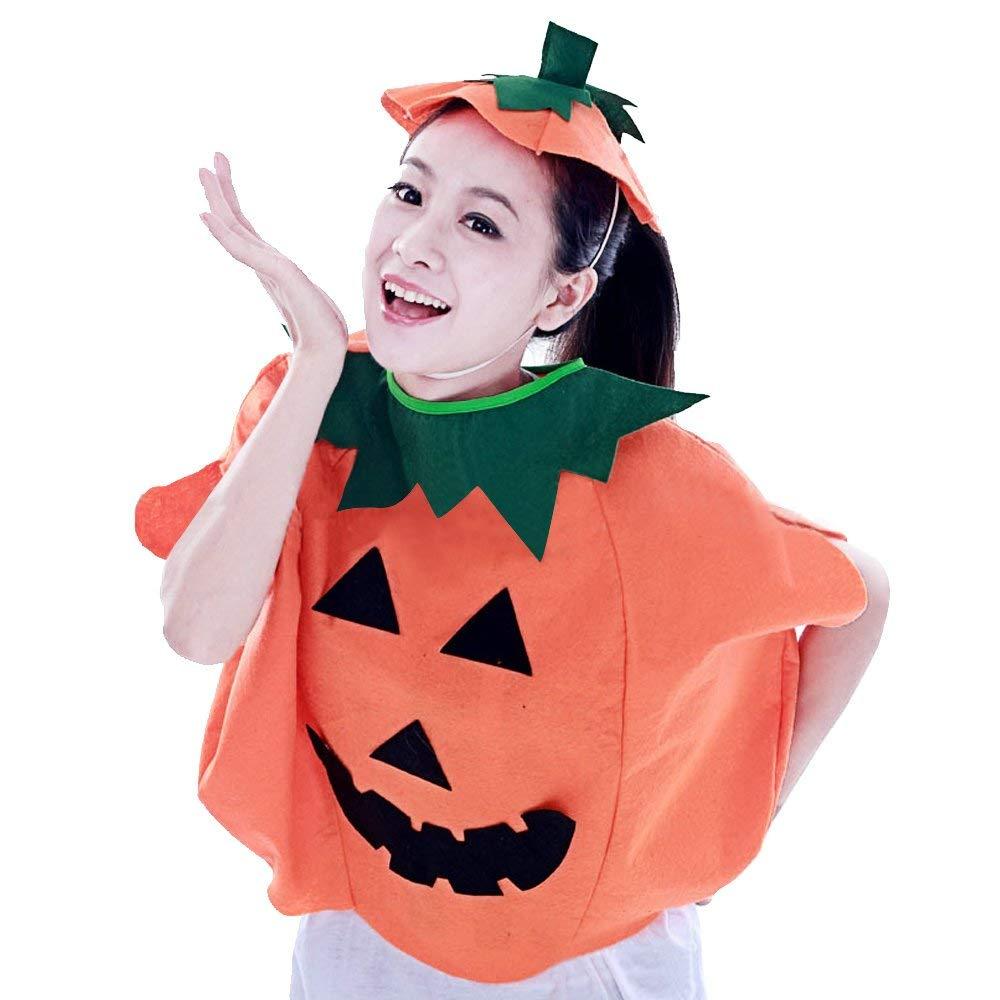 cc06e47f63 Get Quotations · Halloween Pumpkin Costumes Clothes Hat for Adult Fancy  Dress Set Makeup Supplies Props Cosplay Decoration Accessories