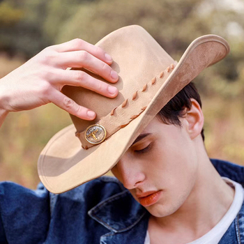 8ad3d28dea6597 Top+++ Men's High Quality hand made leather cowboy hat fashion Sombreros  metal accessories decorated