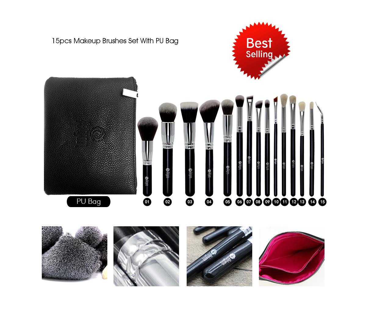 Kuas Kosmetik Make Up Brush Campuran Kontur Datar International Cylinder Case Sbs002bk 11 Polka Dot Black Set Highly Recommended