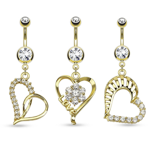 Free Titanium Anodized Clear Zircon Heart Gold Navel Piercing Belly Button Ring