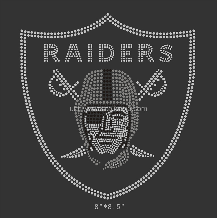 Wholesale hot fix raiders rhinestone iron on transfer design for garment