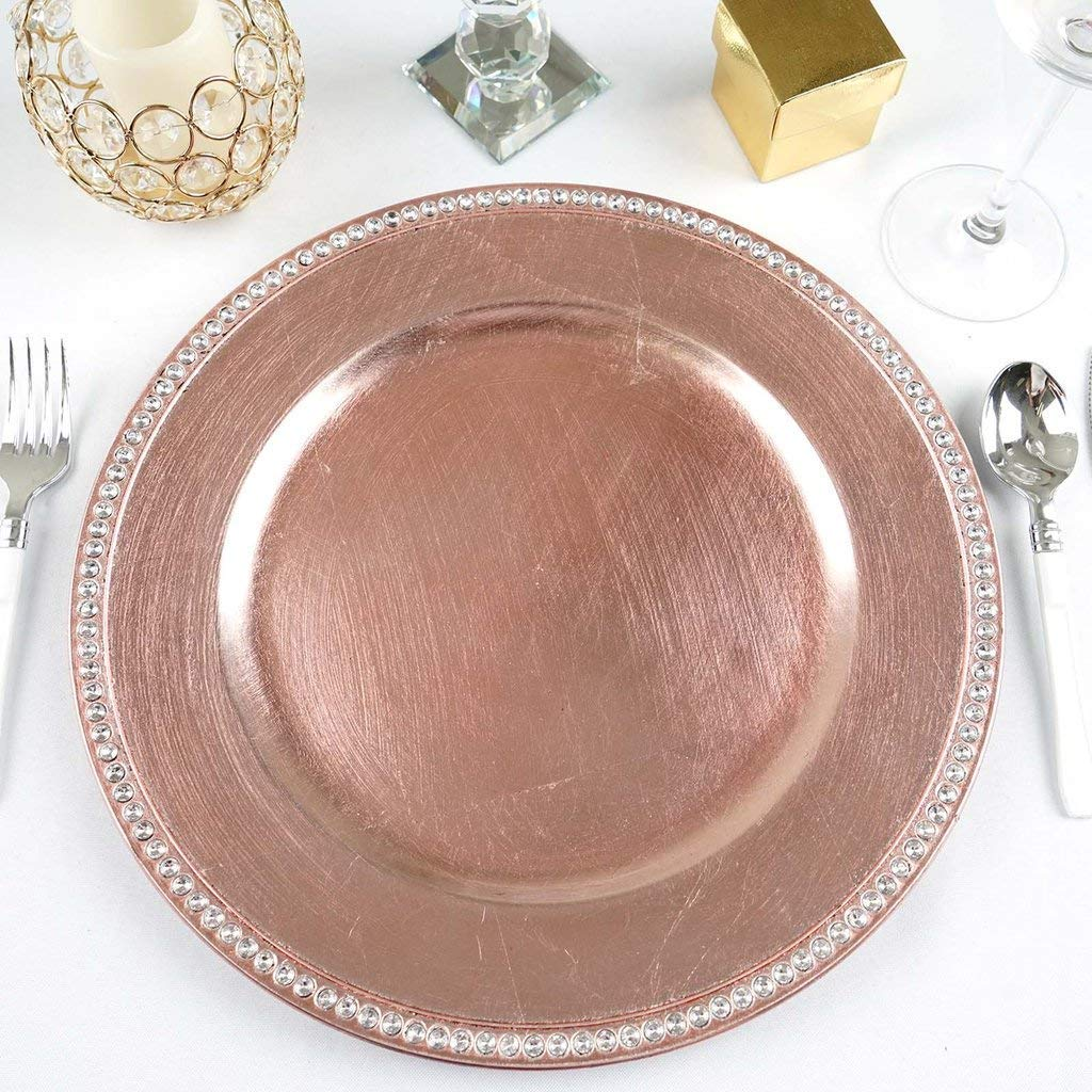 "Tableclothsfactory 13"" Round Blush Rose Gold Crystal Beaded Acrylic Charger Plates Party Dinner Servers Dinner Chargers - Set of 24"