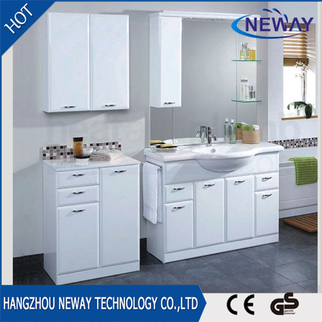 Modern white pvc sliding door bathroom vanity