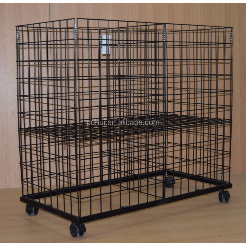 retail pop shop promotion bulk merchandise  metal wire dump display bin with wheels