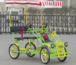 Hot Sale Luxurious Two Person Quadricycle Surrey Sightseeing Bike With Child Seat