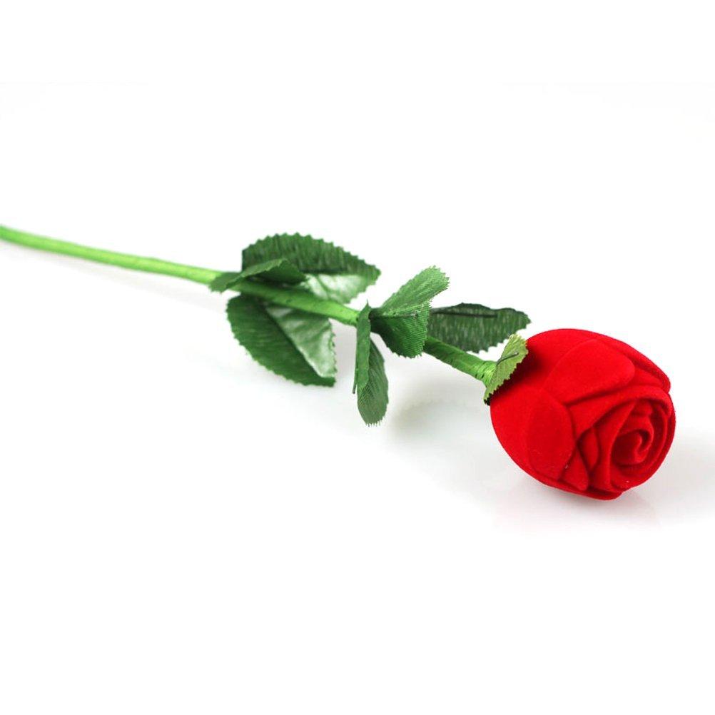 WINOMO Novelty Romantic Red Rose Flower Shaped Velvet Jewelry Engagement Ring Gift Box Case