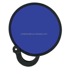 Printed Promotional Nylon Folding Round Frisbee Hand Fan with pouch