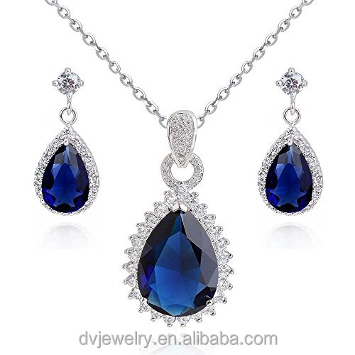 White Gold Plated Teardrops Blue Simulated Sapphire Zirconia Pendant Necklace Earrings Set