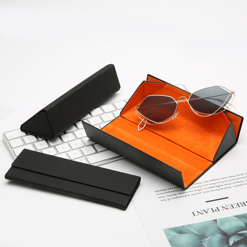 Jheyewear Folding Case Custom Logo cheap Triangle Sunglasses Case Eyewear Foldable Sunglasses Case