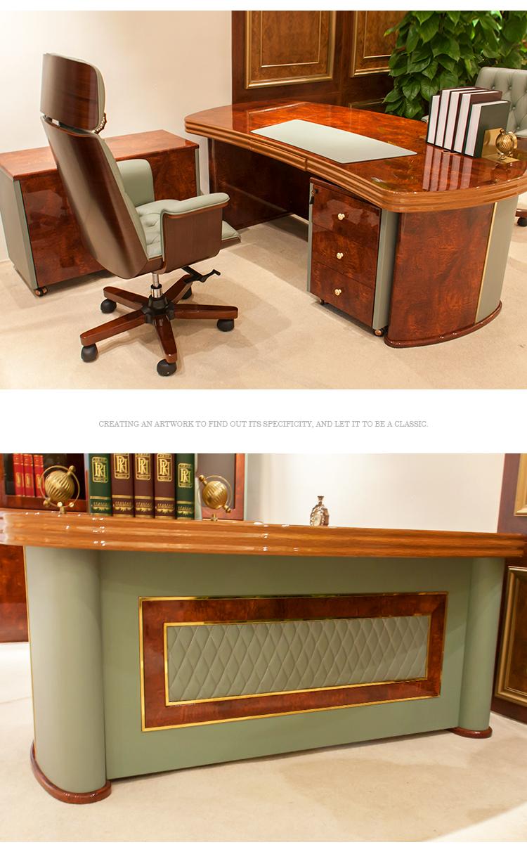 Estilo italiano de luxo clássico decoração de couro PU brilhante MDF mobiliário de escritório secretária executiva mesa de escritório CHEFE Trabalho para Venda