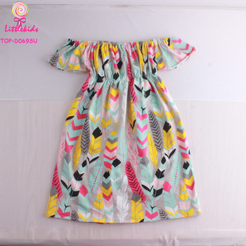 f77c623193815 High Quality New Model Children Feather Printed Pattern Frock Design  Clothing Baby Girls Off The Shoulder Casual Dress - Buy Girls Clothing  Dress,Off ...