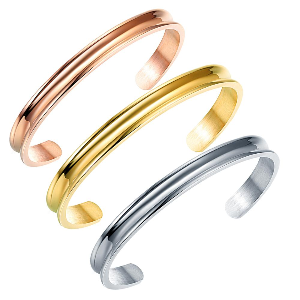 Stainless Steel 3 Colors Hair Tie Grooved Cuff Bangle Bracelet for Women Girls