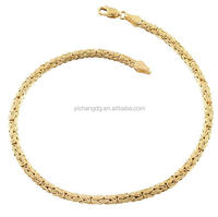 316L Stainless Steel 14k Yellow Gold 4-mm Flat Byzantine Link Anklet