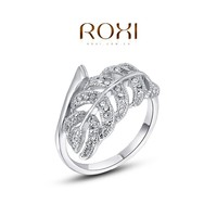 ROXI Fashion Jewelry Plated Engagement Ring with Leaves shaped CZ Diamond Kaner wholesale