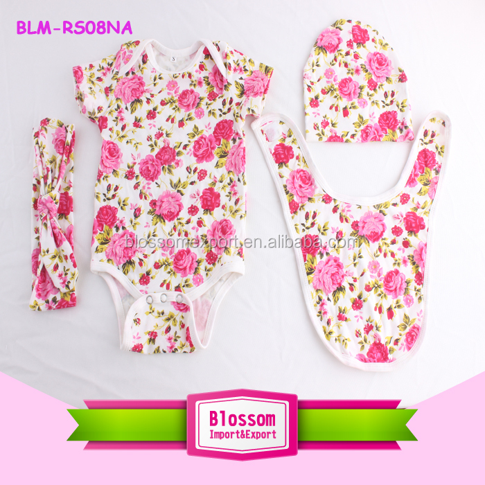 New baby toddler girl clothes boutique kids pink floral romper 0-2t infant clothing baby kids wear 4 pcs baby clothes