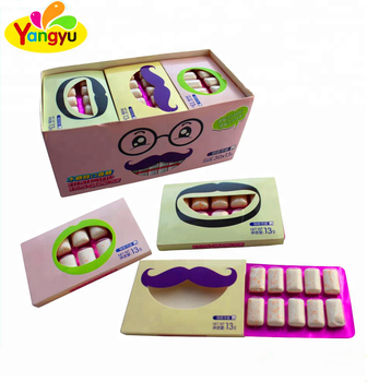 Funny mustache teeth packing strong mint flavor chewing gum in display box