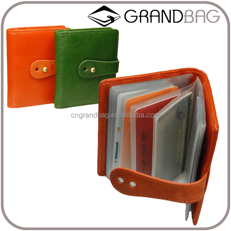 hot sell handmade leather handy credit card organizer, wholsale genuine leather card holder with clear plastic inserts