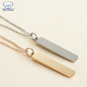 Wholesale Stamped customized stainless steel blank Bar gold Necklace jewelry