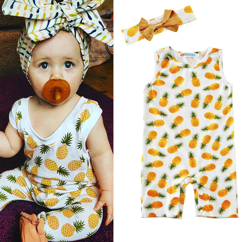 Summer Pineapple Baby Girl Romper+Headband 2pcs Newborn Clothes 2017 New Kids Rompers Jumpsuit Infant Outfits