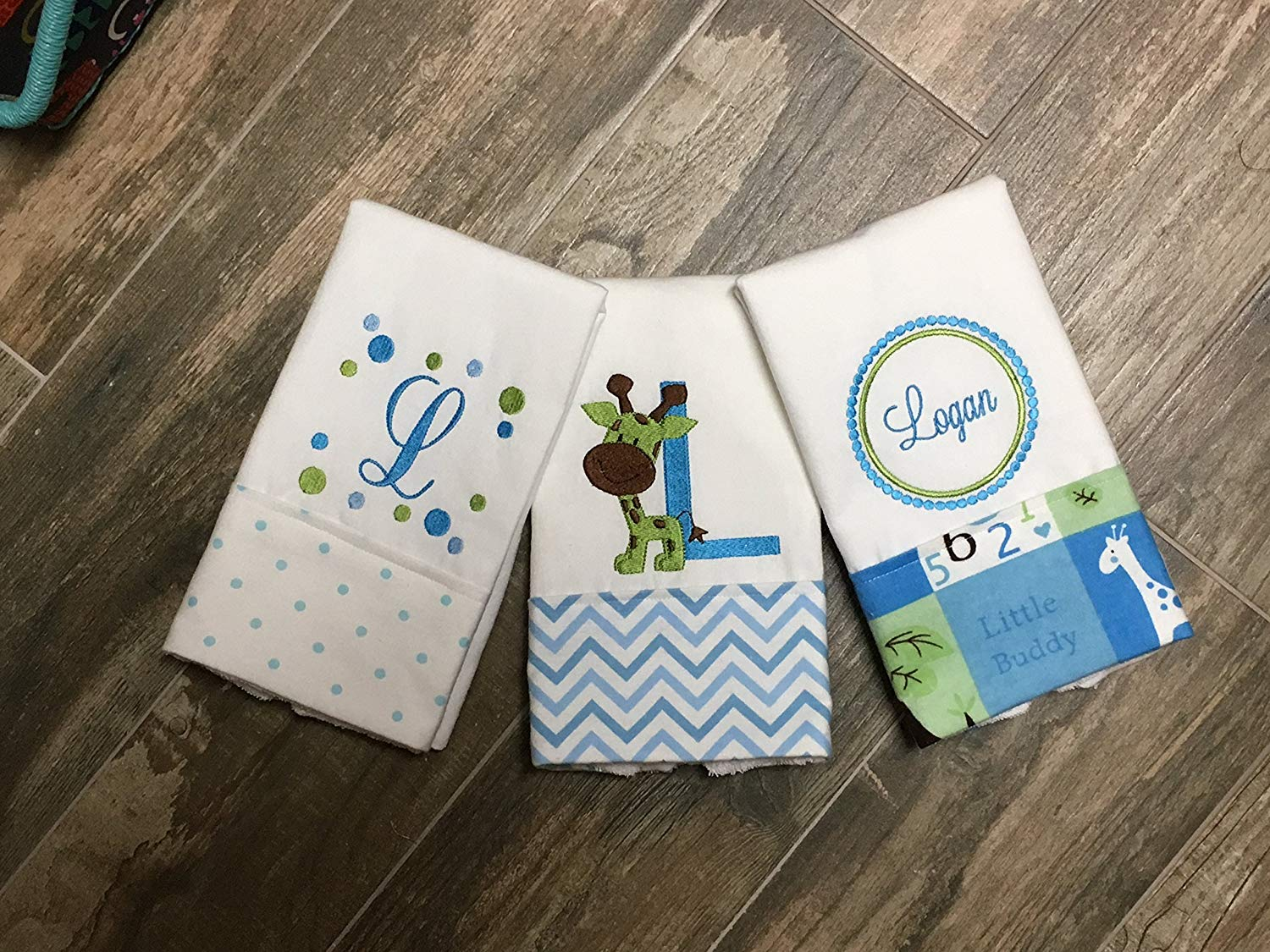 1ae1e8d40 Get Quotations · 3 Giraffe Personalized Embroidered Burp Cloths, Baby  Shower Gift, 3 Blue Burp Cloths,