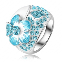 New Hot Fashion Enamel Jewelry Genuine SWA Elements Ring Real Platinum Plated Blue Austrian Crystal Flower