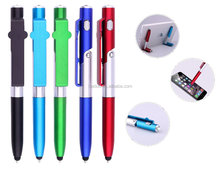 2017 hot selling 4 in 1 promotional gift multifunctional stylus phone holder LED light plastic pen with stand